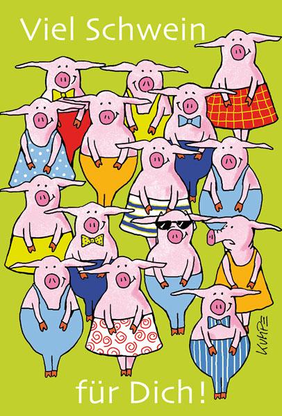 Ganz viel Schwein Cartoonkarte