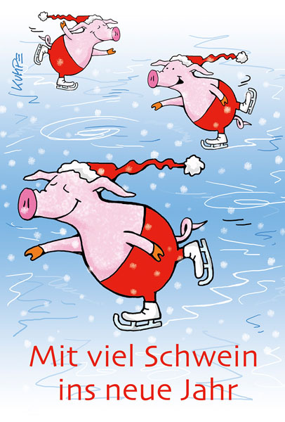 Mit Schwein ins neue Jahr Cartoonkarte