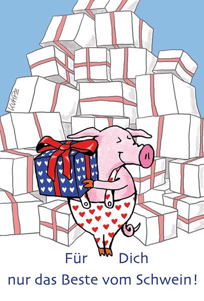 Schweinebeste Cartoonkarte