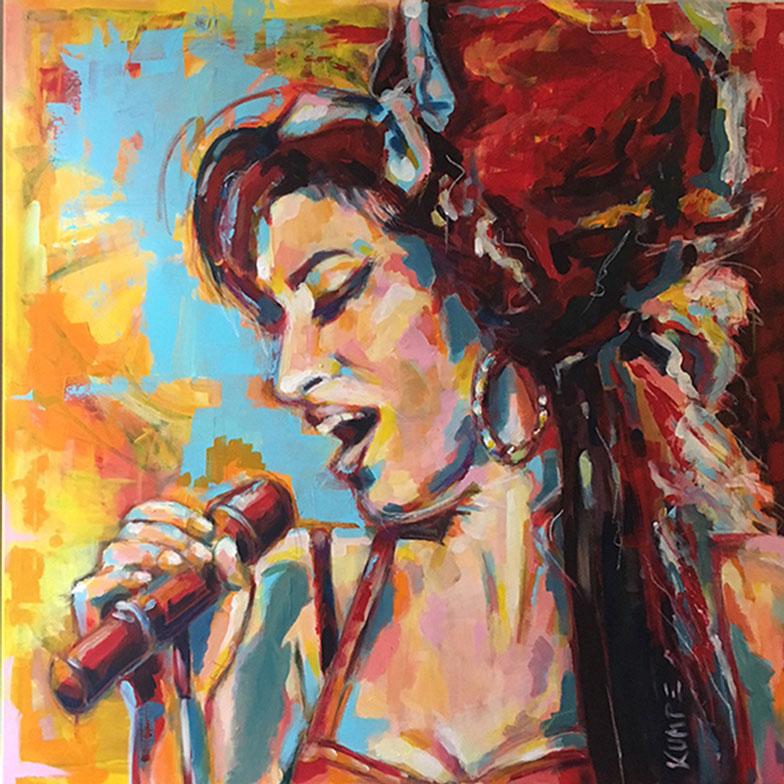 Amy Winehouse Acryl 120 x 120 cm