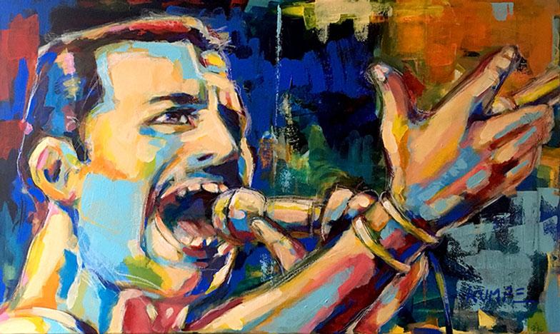 Freddie Mercury Acryl 60 x 90 cm