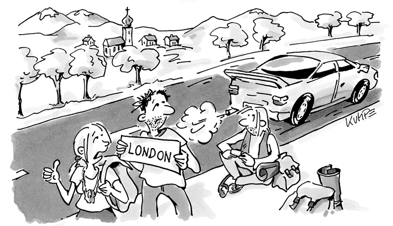 Hitchhiking London Cartoon