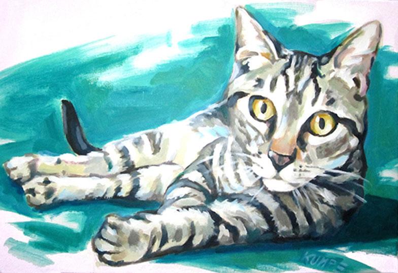 Katze Acryl 40 x 60 cm