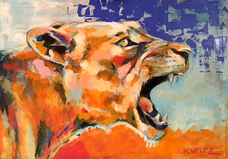 Löwin Acryl 70 x 100 cm