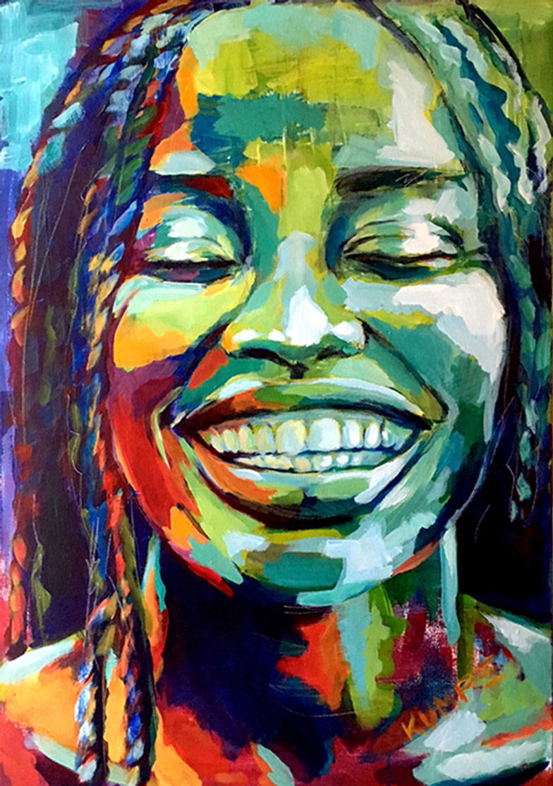 Laughing Beauty 1 Acryl 100 x 70 cm