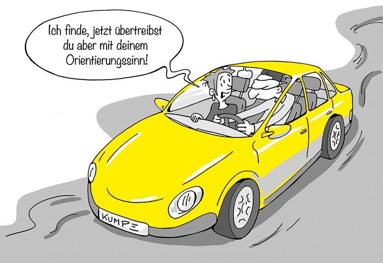 Orientierungssinn Cartoon