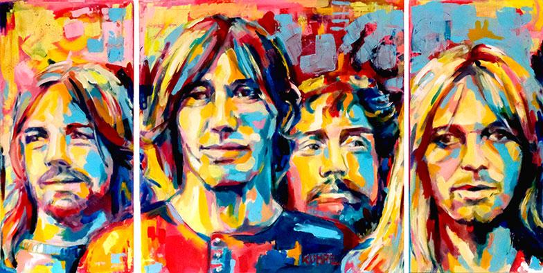 Pink Floyd Triptichon Acryl 80 x 160 cm