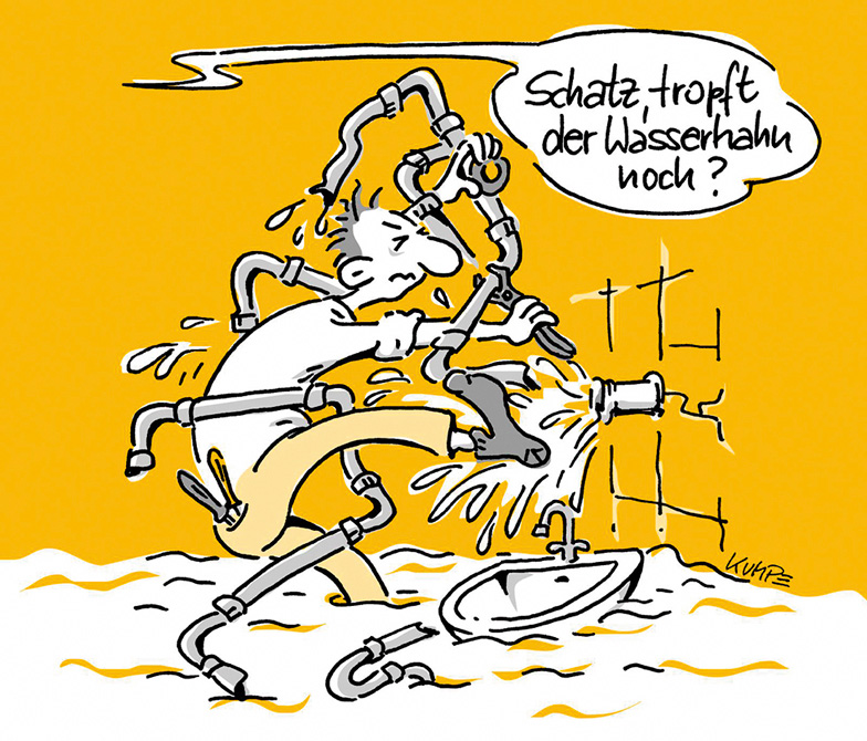 Rohrbruch Cartoon