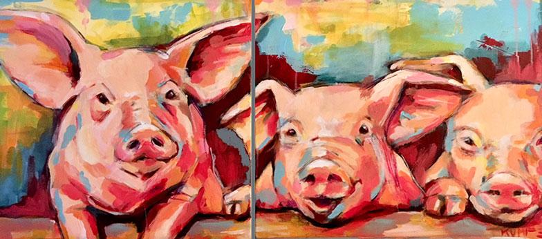 Schweine Acryl 40 x 90 cm