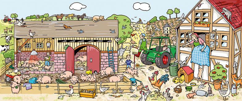 Kinderbuch Schweinestall Wimmelbild