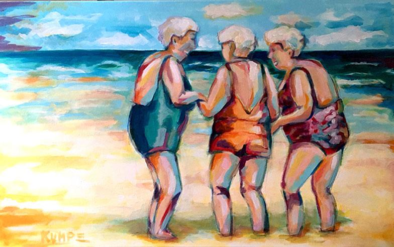 Stranddamen Acryl 50 x 80 cm