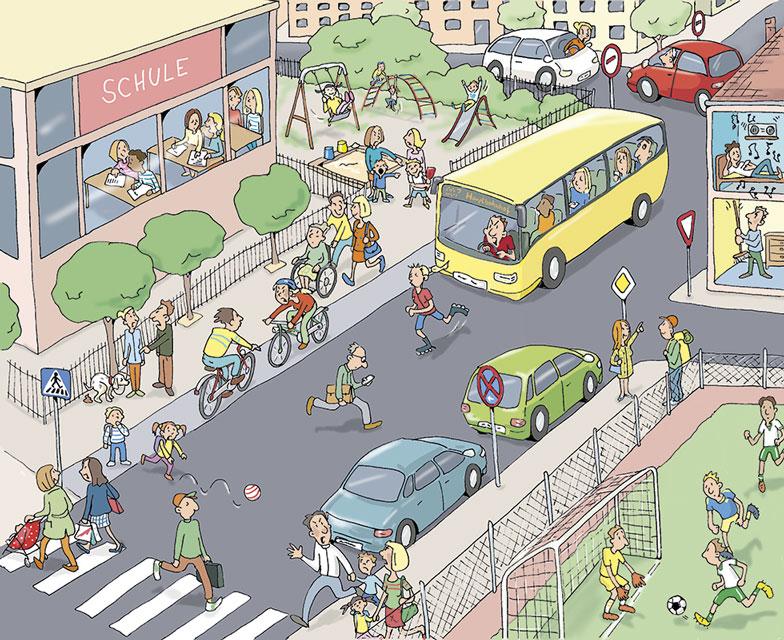 Ethik Straßenverkehr Wimmelbild