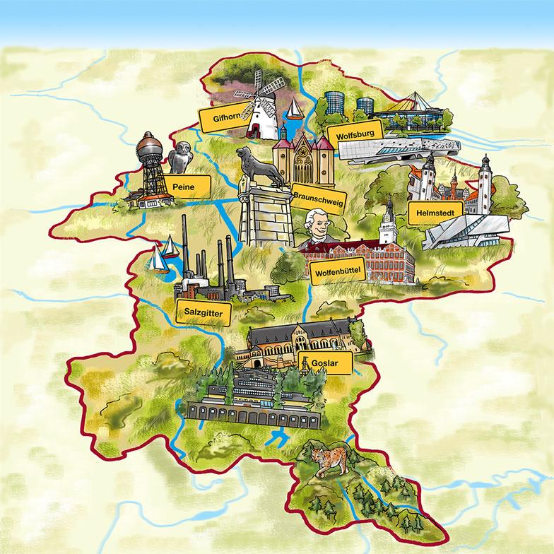 Region Braunschweig Wimmelbild