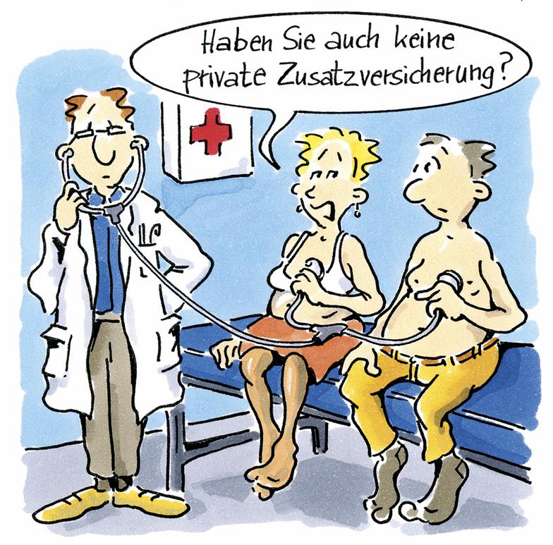 Zusatzversicherung Cartoon