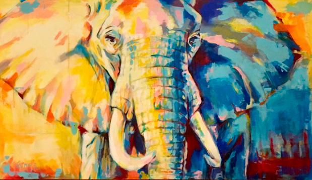 Elefant 1 Acryl 90 x 160 cm