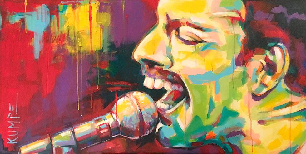 Freddie Mercury 2 Acryl 60 x 120 cm