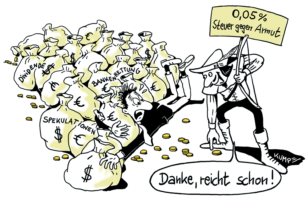 Steuer gegen Armut Cartoon
