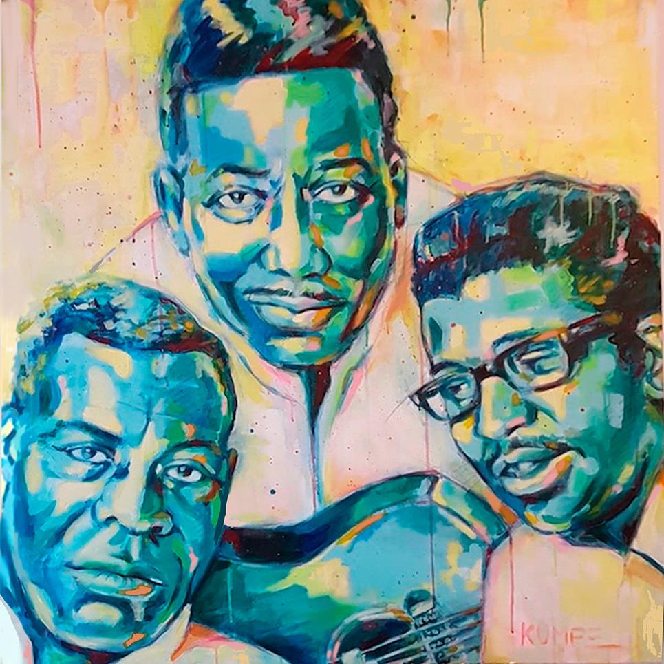 Muddy Waters Howlin´Wolf Bo Diddley Acryl 100 x 100 cm
