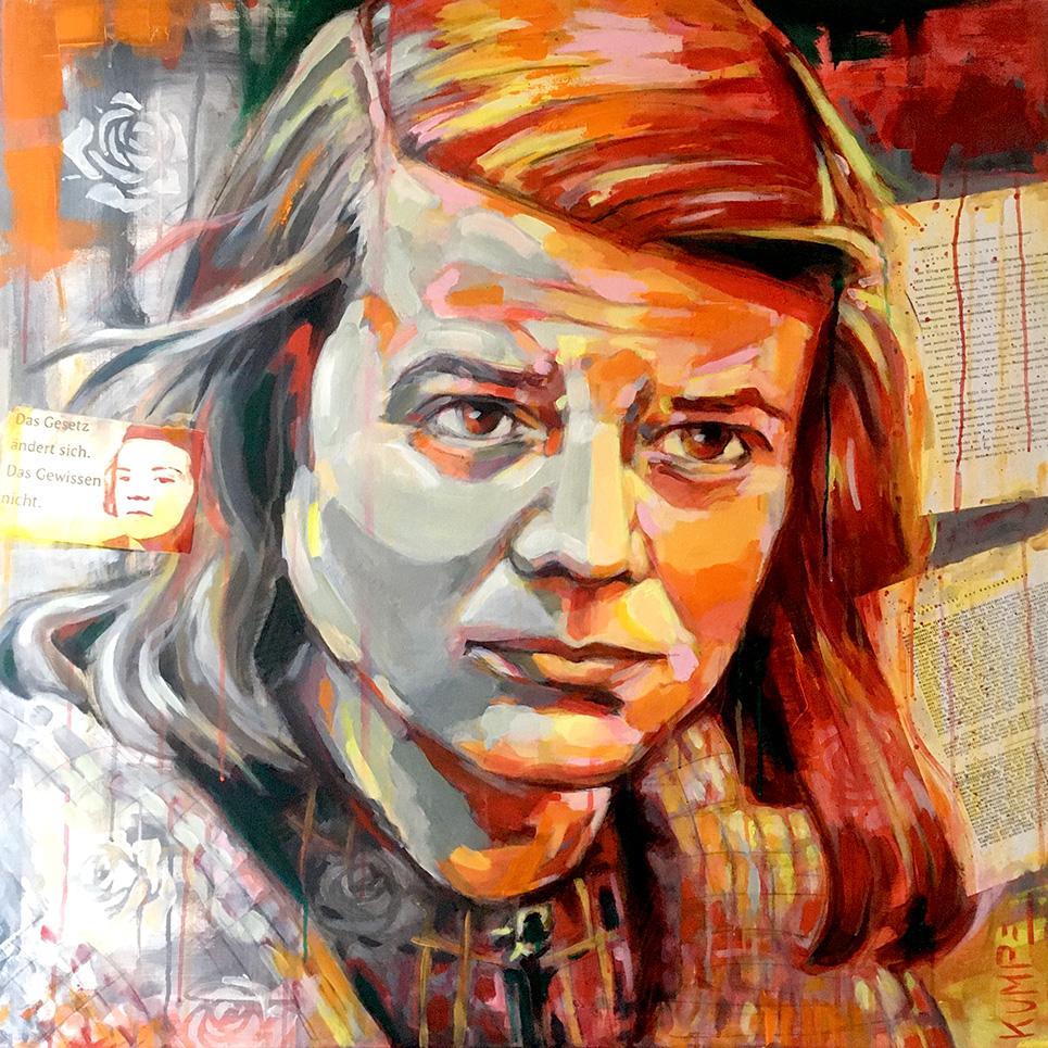 Sophie Scholl Acryl 100 x 100 cm