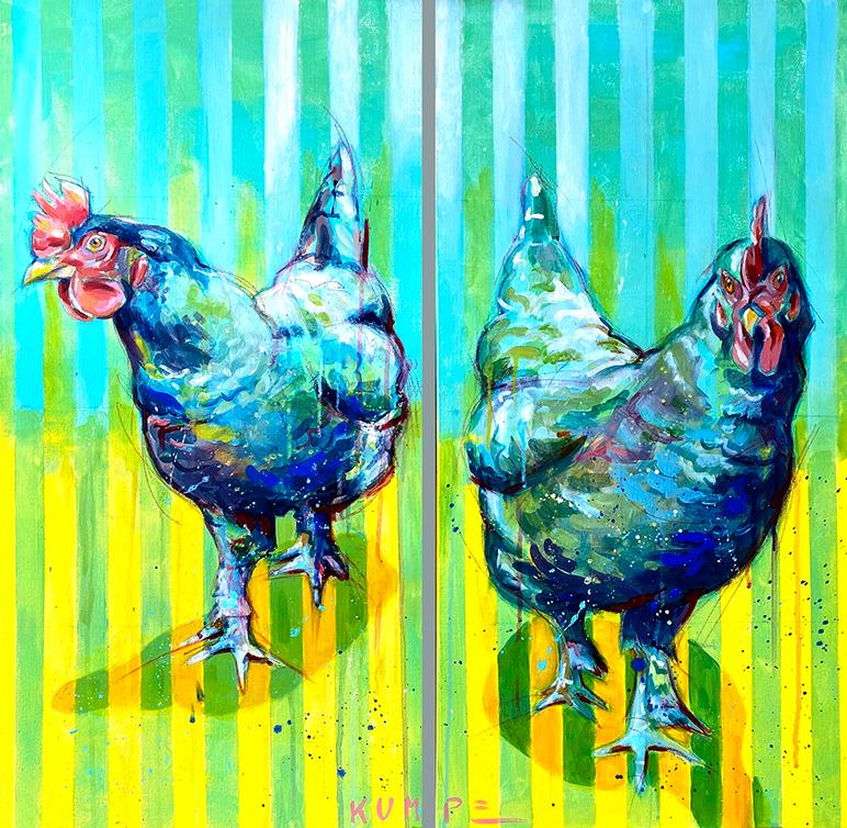 Huhn 1 + Huhn 2  Diptychon  Acryl auf Leinwand  80 x 80 cm
