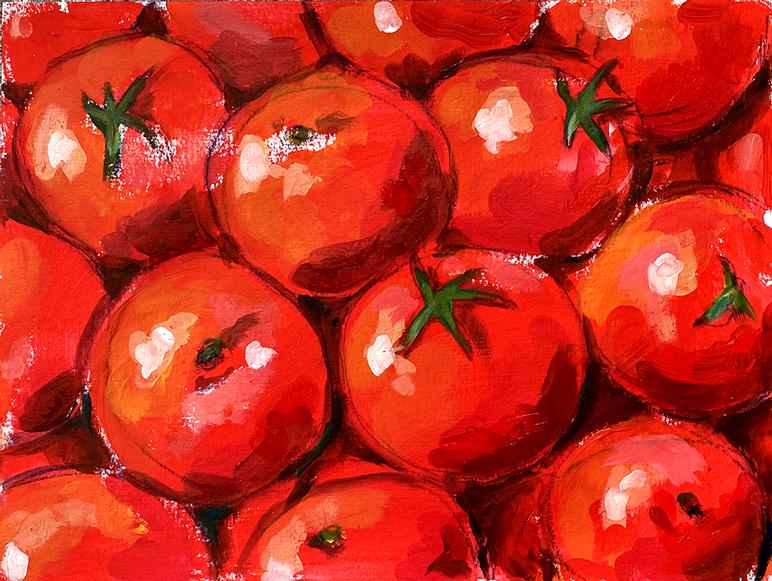 Tomaten 1  Acryl auf Papier 30 x 40 cm