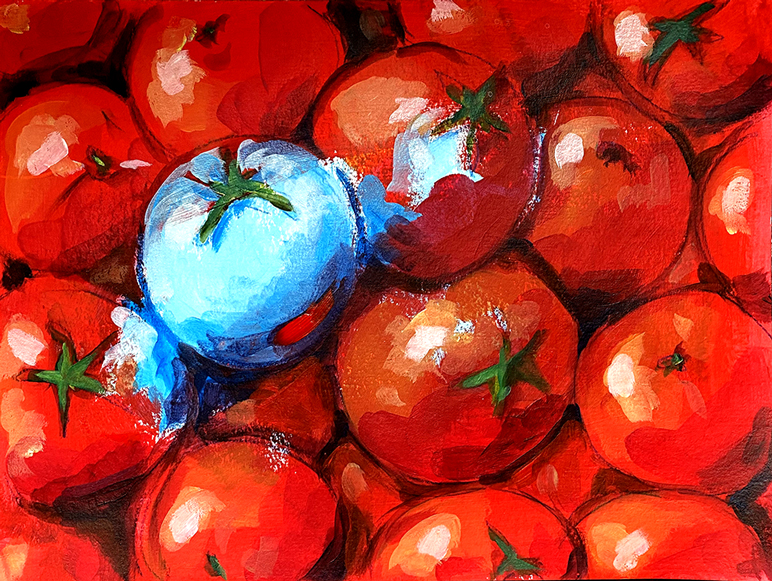 Tomaten 2 Acryl auf Papier 30 x 40 cm