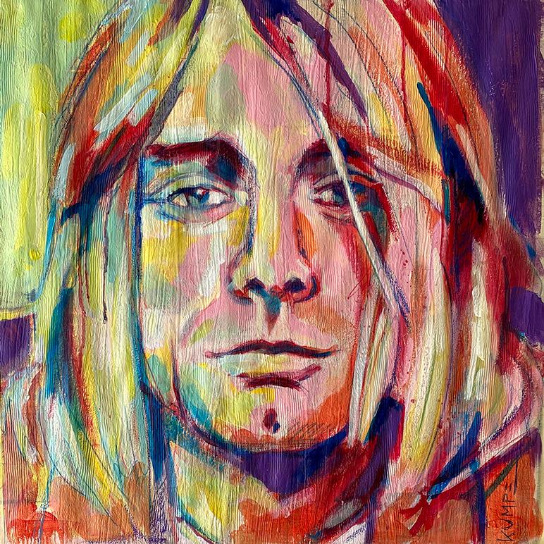 Kurt Cobain  Acryl auf Tapete 50 x 50 cm