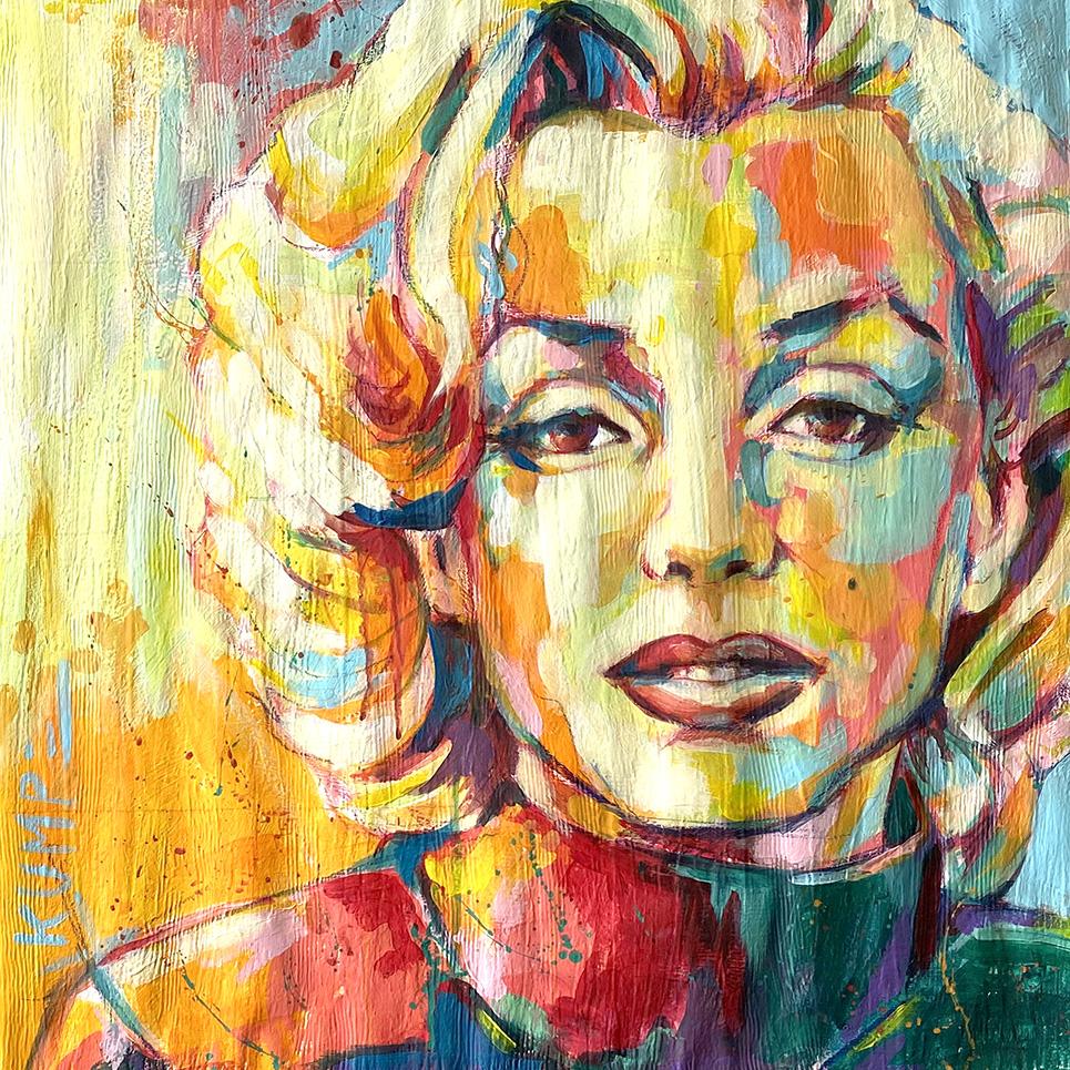 Marilyn Monroe  Acryl auf Tapete 50 x 50 cm