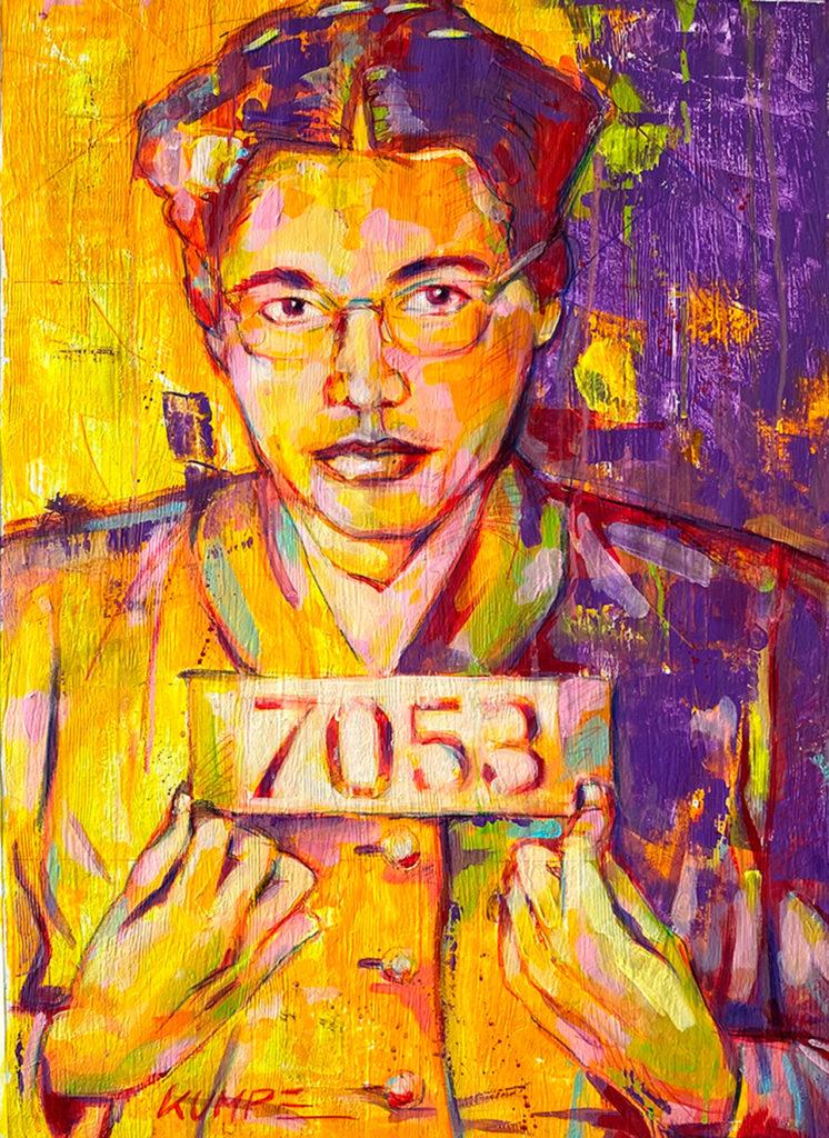 Rosa Parks  Acryl auf Tapete 70 x 50 cm