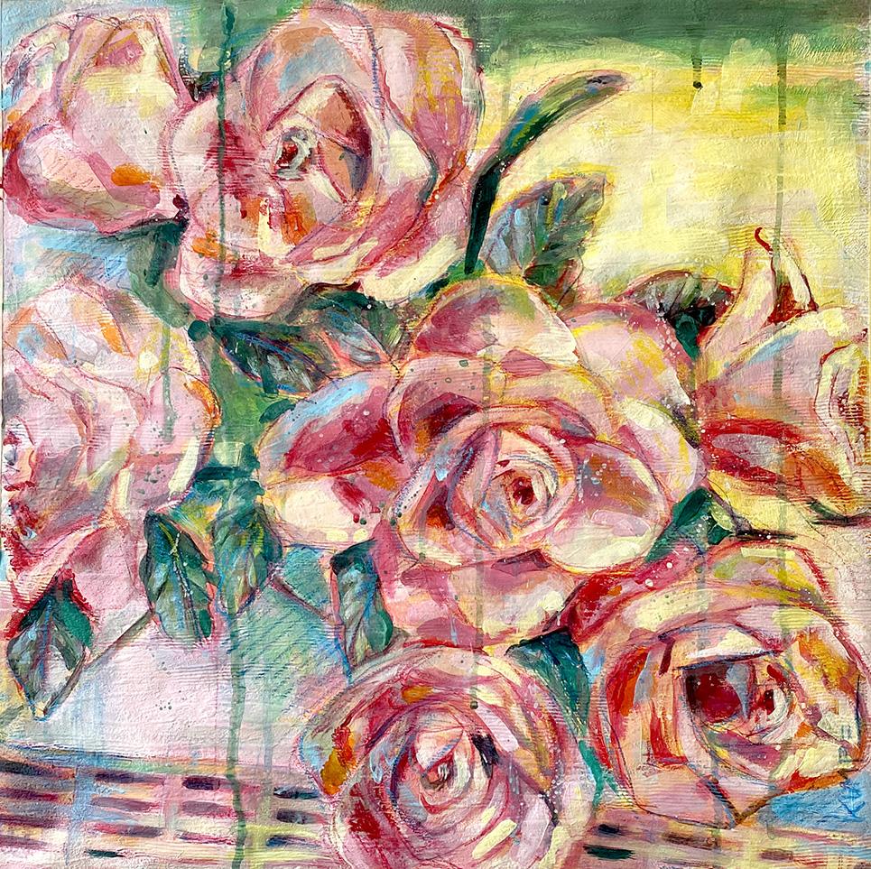 Rosen 1. Acryl auf Tapete 50 x 50 cm