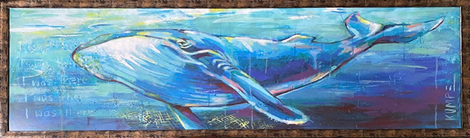 Blauwal  Acryl auf Tapete, gerahmt  50 x 150 cm