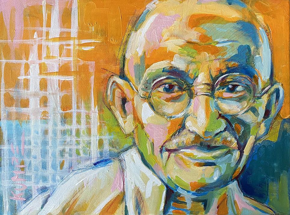 Ghandi Acryl  30 x 40 cm