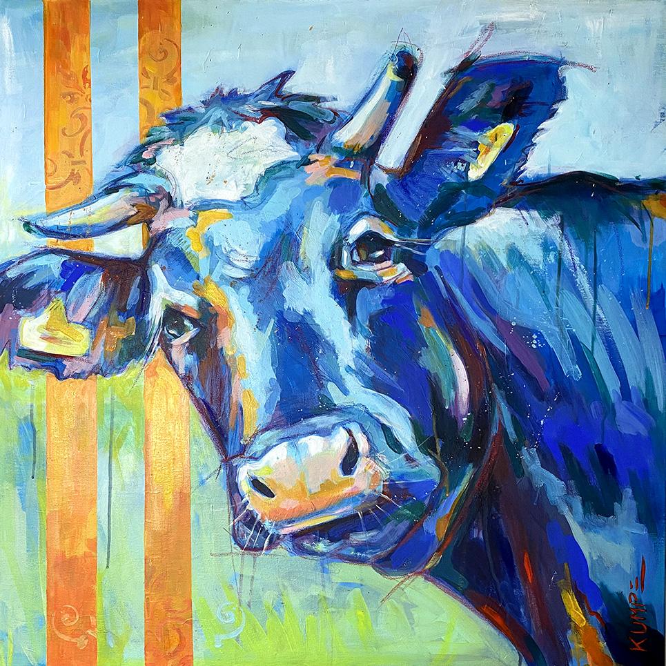 Blaue Kuh (5)  Acryl auf Leinwand  90 x 90 cm